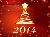 Or nouvel an 2014 et arbre de noël avec des étoiles — Photo