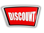 Discount in 3d red banner with white letters — Stock Photo
