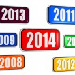 New year 2014 and previous years in colored banners — Foto de Stock