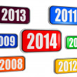 New year 2014 and previous years in colored banners — Foto Stock