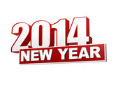 New year 2014 in 3d red figures and block — Stock Photo