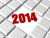 Red new year 2014 in boxes — Stock Photo