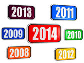 New year 2014 and previous years in colored banners — Stock Photo