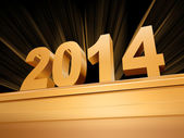 Golden new year 2014 on a pedestal — Stock Photo