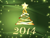Golden new year 2014 and hristmas tree with stars — Stock Photo