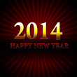 Golden happy new year 2014 over red rays — Stock Photo