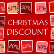 Christmas discount and percentages in squares - retro red label — Stock Photo #36126769