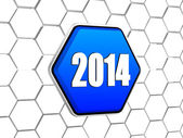 New year 2014 on blue hexagon — Stock Photo