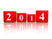 New year 2014 in red cubes — Stock Photo