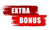 Extra bonus on red drawn banners — Stock Photo