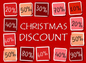 Christmas discount and percentages in squares - retro red label — Stock Photo