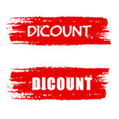 Discount on red drawn banners — Stock Photo