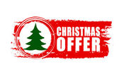 Christmas offer and christmas tree on red drawn banner — Stock Photo