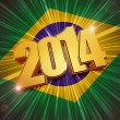 New year 2014 golden figures over shining Brazilian flag — Stock Photo #36186655