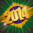 New year 2014 golden figures over shining Brazilian flag — Stock Photo
