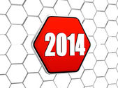 New year 2014 on red hexagon — Stock Photo