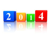 New year 2014 in color cubes — Stock Photo