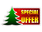 Special offer and christmas tree on red banner with snowflakes — Photo