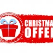 Christmas offer and gift box on red drawn banner — Stock Photo