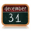 December 31 on blackboard banner — Stock Photo