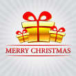 Stock Photo: Merry christmas with golden gift boxes over silver rays
