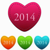 New year 2014 in colorful hearts — Stock Photo