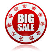 Christmas big sale on red circle banner with snowflakes symbols — Stock fotografie