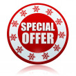 Christmas special offer on red circle banner with snowflakes sym — Photo #36493731
