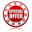 图库照片: Christmas special offer on red circle banner with snowflakes sym