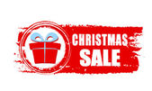 Christmas sale and gift box on red drawn banner — ストック写真