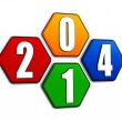 New year 2014 on pied hexagons — Stock Photo