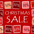 Christmas sale and percentages in squares - retro red label — Stock Photo #36548327