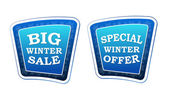 Big winter sale and special winter offer on retro blue banners w — Stockfoto
