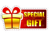 Christmas special gift and present box on red banner with snowfl — Stock Photo