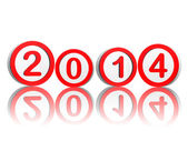 New year 2014 in red circles — Stock Photo