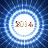 New year 2014 in blue circles with rays — Stock Photo