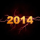 Golden new year 2014 with lightning — Stock Photo