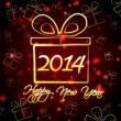 Happy New Year 2014 in present box — Stock Photo