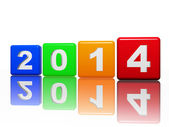 New year 2014 in pied cubes with white figures — Stock Photo