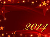 Golden new year 2014 with stars — Stock Photo