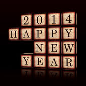 Happy New Year 2014 in 3d wooden cubes — Stock Photo
