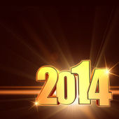 Golden new year 2014 with shining rays, brown background — Стоковое фото