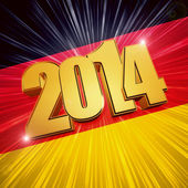 New year 2014 golden figures over shining German flag — Stock Photo