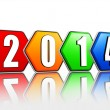 Stock Photo: New year 2014 on pied hexagons arranged
