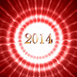New year 2014 in red circles with rays — Stock Photo