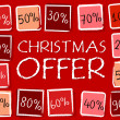 Christmas offer and percentages in squares - retro red label — Stock Photo #36628433