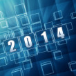 New year 2014 in blue glass blocks — Stock Photo