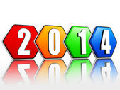 New year 2014 on pied hexagons arranged — Stock Photo