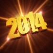 Golden new year 2014 with shining rays over brown background — Stock Photo #36655339