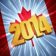 Stock Photo: New year 2014 golden figures over shining Canadian flag
